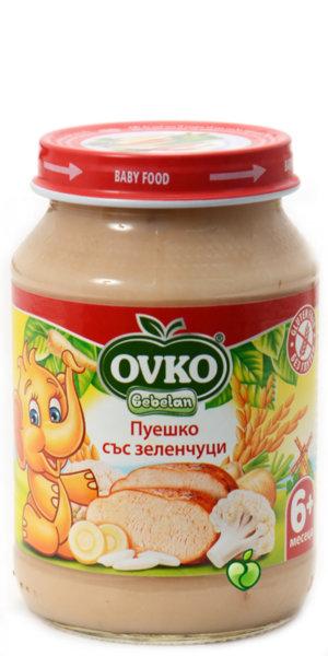 Овко Бебешко пюре /Меню ризото пуешко със зеленчуци (пащърнак и карфиол)/ 190 гр. 4м.+ 7110